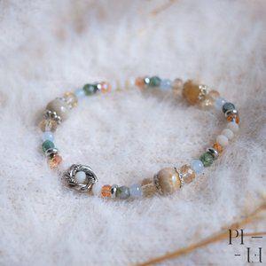 2/50$ bracelet natural coral, jade gemstones